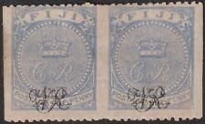 Fiji 1877 QV VR Overprint 1d Blue Laid Imperf Between Pair Mint SG31c cat £700