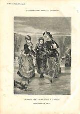 Première Leçon de Patins à Glace Tableau Boutibonne Peintre GRAVURE PRINT 1873