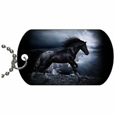 Black Horse Dog Tag Necklace Chain