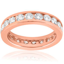 2 CT Diamante Anillo de la eternidad 14k Oro Rosa Banda de boda redondo para mujeres Conjunto de canal