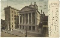1900s 1910s Postcard Courthouse York Pennsylvania PA Street View Horse Undivided