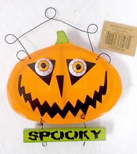Hannas Handiworks Orange Black Green Light-up Eyes Spooky Pumpkin Halloween Dec