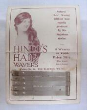 ANTIQUE VICTORIAN ADVERTISING HINDE'S HAIR WAVERS CURLER & ORIGINAL DISPLAY CARD
