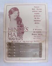 Antique victorian publicité hinde avait les cheveux wavers curler & original display carte
