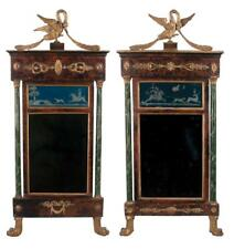 Companion pair of French Empire mirrors with gold gilt swan pediments. Lot 121 00006000