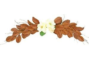 Artificial Magnolia Leaf Swag Brown Magnolia Leaves with White Peony Flowers