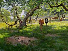 Landscape forest cow by J. Krouthen Tile Mural Kitchen Backsplash Marble Ceramic