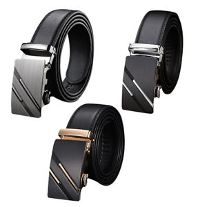 Mens Faux Leather Automatic Buckle Belt Waistband Trousers Adjustable Belts YE47