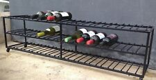Wine rack on wheels holds 39 bottles long and low.