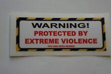 4 x la violence Extrême Avertissement Autocollants Camion Vélo Sécurité Autocollants Alarmes De Voiture TT
