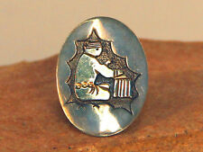 Navajo Sterling Silver and Gold with Weaver Motif Ring Size 7 3/4