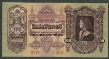 HUNGARY 100 Pengo 1930 P98 Very Attractive Old Classic Note Budapest