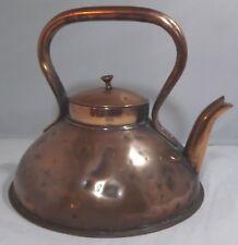 Antique Victorian Flat-Bottom Copper Kettle