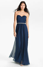 NEW LA FEMME Embellished Chiffon Strapless DRESS GOWN SIZE 4 $398 RHINESTONES