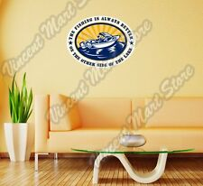 "Fisherman Fishing Boat Rod Funny Wall Sticker Room Interior Decor 25""X20"""