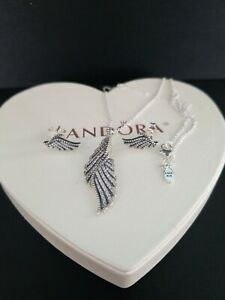 Authentic pandora feathers necklace earrings  set with  box