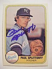 PAUL SPLITTORFF signed KC ROYALS 1981 Fleer baseball card AUTO Autographed #30