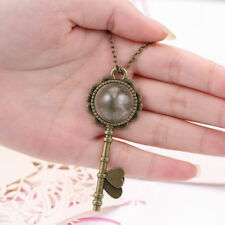 Plated Key Pendant Dandelion Necklace Round Glass Lockets Dandelion Seed
