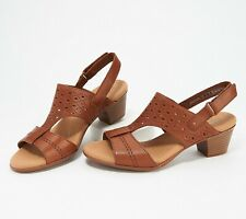 Clarks Collection Women's Valarie Mindy Leather Heeled Dress Sandal Size 11M Tan