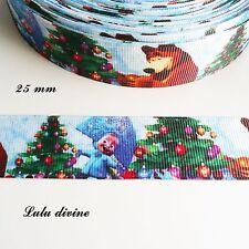 Ruban gros grain Masha & l'ours Michka à Noël de 25 mm vendu au mètre