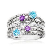 1.10 кар О. Multi-драгоценный камень многополосный кольцо в серебре