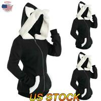 Women Bunny Ears Sweatshirt Hooded Coat Pullover Long Sleeve Jumper Loose Jacket