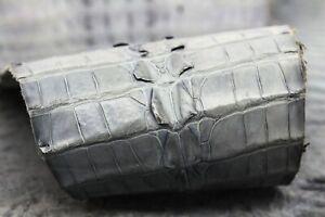 Real Crocodile Skin Leather Hide Exotic Skin Pelt Craft Supply Hornback Gray