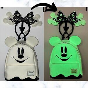 Loungefly Disney Ghost Mickey Mini Backpack & Ears Set Glow-in-the-Dark BNWT 👻