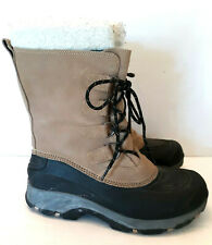 Lands End Leather Duck Boots Insulated Removable Liner Black Tan Mens 10D Suede