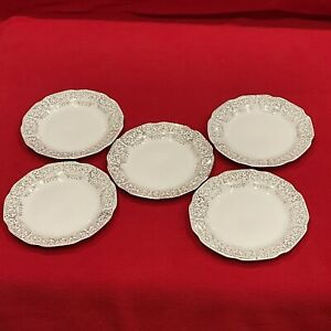 Vintage Stetson China Dinnerware 22 Kt Gold Bread/Dessert Plates - Lot Of 5