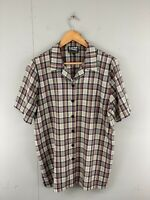 Baker Street Men's Vintage Short Sleeve Casual Check Shirt Size 14 Brown