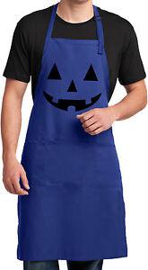 Mens Halloween Black Jack O Lantern Full Length Apron with Pockets