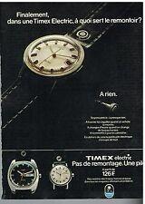 Publicité Advertising 1974 Les montres Timex electric