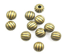 25 Antique Gold Plated Brass Melon Spacer Beads 8MM
