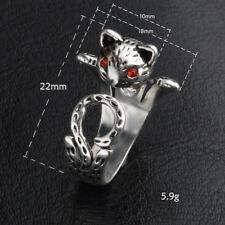 Cute Red eye Cat 925 Sterling SILVER PLT LADIES ADJUSTABLE OPEN BAND THUMB RINGS