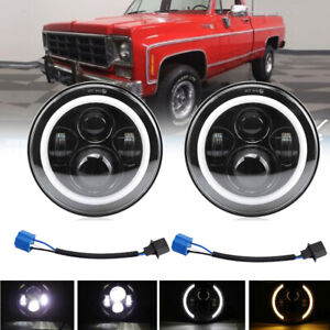 For 1975-1980 Chevy K10 K20 K5 Blazer 7 inch Round LED Headlights Hi-Lo Beam DRL