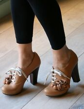 CHIE MIHARA SHOES ROSETTE LACE UP BOOTIES PLATFORM HEELS BLOM $515 CAMEL 39