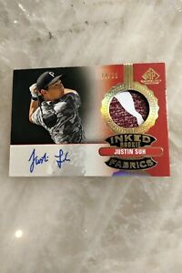 2021 SP Game Used Golf - Justin Suh Inked Rookie Fabrics Auto Card - 10/25