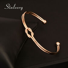 Women Fashion Cross Knot Bracelets Smooth Bangle Cuff No Stone 18K Rose Gold