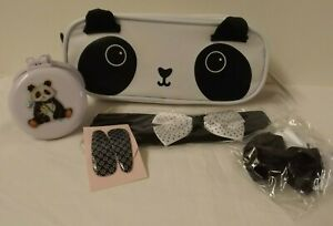 Panda theme gift set - Pencil case / cosmetic bag with hair accessories