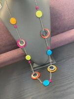 "Vintage Bohemian 40"" Multi Colored MOP 1970's Style Long Sweater Length Necklace"