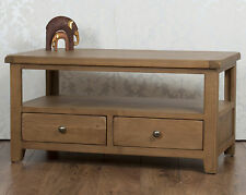 Solid Chunky Oak Dorset Country 2 Drawer Fully Assembled Coffee Table TV Stand