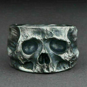 Mens 925 Silver Plated Rings Skull Gothic Punk Biker Fashion Jewelry Size 7-13