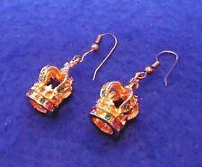 Vintage 3-D Crown Earrings - Multi-Stone - Gold Tone - Wires for Pierced Ears