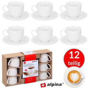 ALPINA 12 tlg. Espressotassen Espresso 6 Tassen Set mit Unterteller Weiß