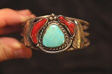 American Craft Coral Turquoise - Sterling Silver - Leaf Design - 50.7 Grams