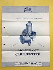 AMAL - Monobloc Carburetter - Price List, Sales Literature - List No.504 Issue.2