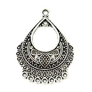 10 Tibetan Silver Floral Filigree Teardrop Chandelier Bead Earring Drops Loops