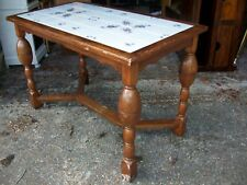 Antique vintage country house kitchen hall tiled table solid oak wood frame gc