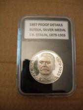 1997 , RUSSIA , SILVER MEDAL : J.V. Stalin 1879 - 1955 , EX-RARE !!